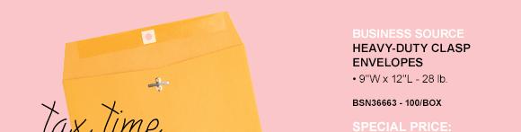 Business Source Heavy-duty Clasp Envelopes