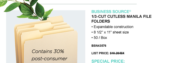1/3-cut Cutless Manila File Folders