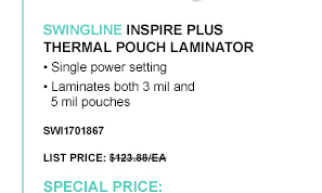 Inspire Plus Thermal Pouch Laminator